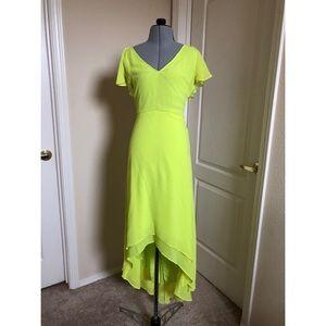 ASOS lime green yellow hi-lo dress